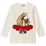 Monnalisa White Horse Print and Embroidered Rose T-Shirt