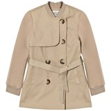 IKKS Beige Trench Coat with Ribbed Collar