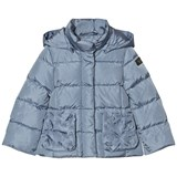 Il Gufo Blue Down Puffer Coat with Petal Pockets