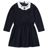 Vivetta Navy Embroidered Hand Collar Dress