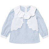 Vivetta Blue Stripe Face Embroidered Shirt with Frill Collar