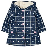 Hatley Navy Heart Print Sherpa Lined Raincoat