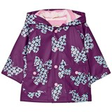 Hatley Purple Butterfly Print Fleece Lined Raincoat