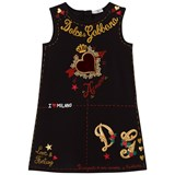Dolce & Gabbana Black Heart Print and Embroidered Sleeveless Dress
