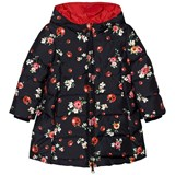 Dolce & Gabbana Navy Floral and Lady Bird Print Hooded Puffer Coat