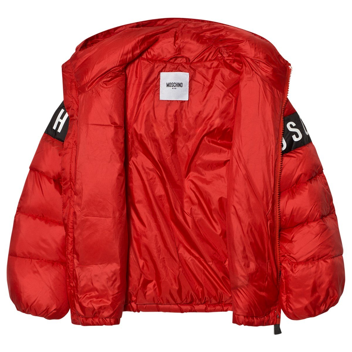dde750733e14 Moschino Red Branded Down Puffer Coat with Detachable Hood ...