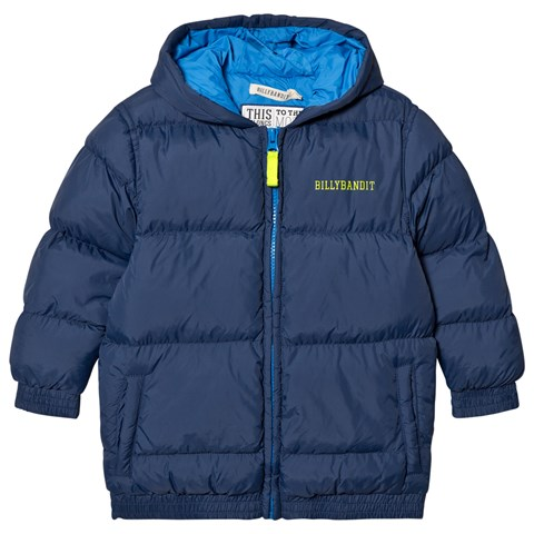 Billybandit Navy Puffer Coat with Removable High Vis Arm Band