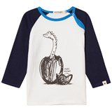 Billybandit Navy and White Raglan Dinosaur Print Tee