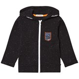 Billybandit Black Slub Fleece Zip Thru Hoodie with Space Badge