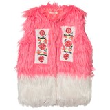 Billieblush Pink and White Faux Fur Gilet