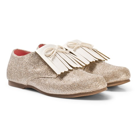 Billieblush Gold Glitter Fringed Shoe