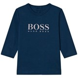 BOSS Navy and White Branded Long Sleeve T-Shirt