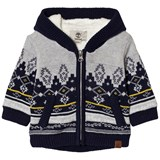Timberland Kids Grey Cotton Fairisle Knit Teddy Lined Hoodie