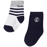 Timberland Kids Pack of 2 Navy and Grey Stripe Socks