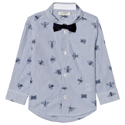 Billybandit Blue Bug Print Stripe Shirt with Detachable Bow Tie