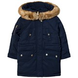 Chloé Navy Padded Quilted Parka with Faux Fur Hood