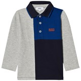 BOSS Grey and Blue Panelled Long Sleeve Polo