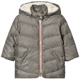 Carrément Beau Grey Hooded Puffer Coat with Fleece Lining