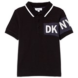 DKNY Black and Blue Branded Pique Polo