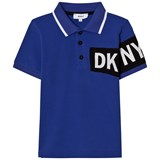 DKNY Blue and Black Branded Pique Polo