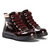 Primigi Burgundy Star Patent Zip and Lace Boots