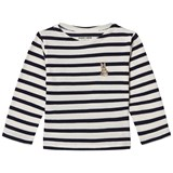 Maison Labiche Navy Bunny Embroidered Stripe Long Sleeve Tee
