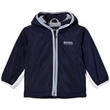 BOSS Navy and White Branded Hooded Windbreaker