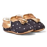 Catimini Black Spot and Rose Gold Tassle Crib Shoes