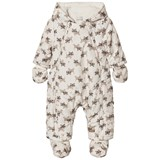 Catimini Unisex Cream Tiger Print Teddy Lined Snowsuit and Mittens and Booties