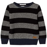 Pepe Jeans Grey and Charcoal Stripe Chunk Knit Jumper