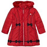 Le Chic Red Faux Fur Hooded with Contrast Bow Long Jacket