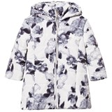 Le Chic Off White Allover Flowers Print Long Jacket