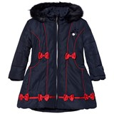 Le Chic Navy Faux Fur Hooded with Contrast Bow Long Jacket