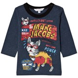 Little Marc Jacobs Blue French Bulldog Branded Print Tee