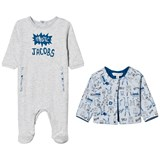 Little Marc Jacobs Pale Blue Jersey Babygrow and Reversible Jacket in Gift Box