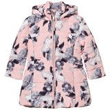 Le Chic Pink All over Flowers Print Long Line Puffer