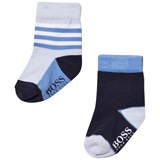 BOSS Pack of 2 Navy and Pale Blue Branded Socks