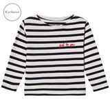 Maison Labiche EXCLUSIVE Blue Just Be You Embroidered Striped Long Sleeve Tee