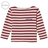 Maison Labiche EXCLUSIVE Red Just Be You Embroidered Striped Long Sleeve Tee