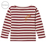 Maison Labiche EXCLUSIVE Red Tiger Embroidered Striped Long Sleeve Tee