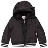 Karl Lagerfeld Kids Black Nylon Hooded Jacket with Faux Fur Lining