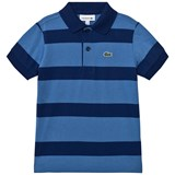 Lacoste Blue and Navy Stripe Jersey Polo