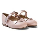 Mayoral Pink and Copper Heart Applique Leather Mary Janes