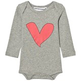 Gardner and The Gang grey Heart Print Long-Sleeved Romper