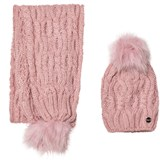 Mayoral Pink Chunky Knit Pom Pom Hat and Pom Pom Scarf Set