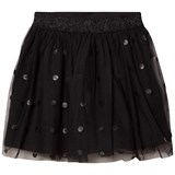 Mayoral Black Tulle Skirt with Pleather Circles