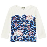 Kenzo Kids White Cloud and Tiger Print Long-Sleeved Tee