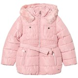Mayoral Pink Padded Hooded Coat with Waist Tie