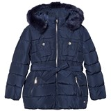 Mayoral Navy Padded Hooded Coat with Waist Tie