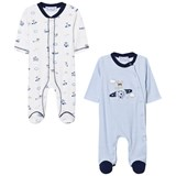 Mayoral Blue Stripe Set of 2 Bunny Print Babygrows